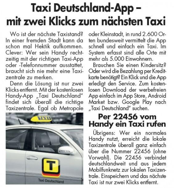 Beispiel eines bundesweit eingesetzten Materndienstbeitrages für eine Taxi-App.