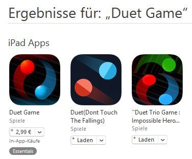 Jede erfolgreiche App wird sehr schnell kopiert. Hier ein gutes Beispiel, wie dreist solche Kopien sogar das Design übernehmen. (Screenshot iTunes)